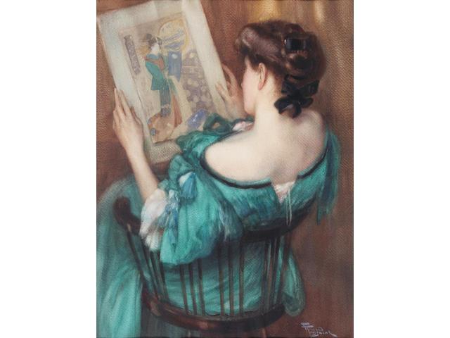 Fernand Toussaint (Belgian, 1873-1955) Woman studying a Japanese print 53.5 x 40.5cm.