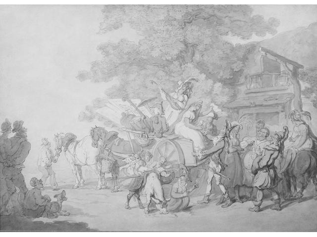 Thomas Rowlandson (British, 1756-1827) 'Travelling players halted by an inn' 27.5 x 39.5cm.