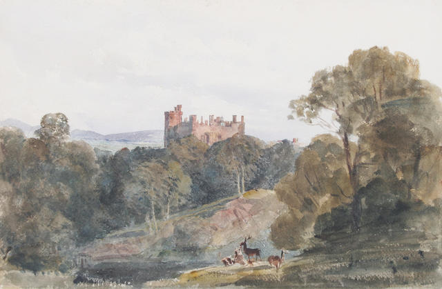 Peter De Wint, OWS (British, 1784-1849) 'St. Donat's Castle' 29.5 x 45.5cm.