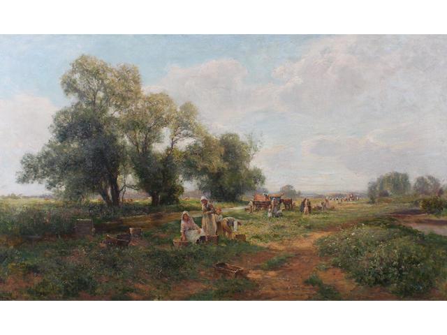 Ernest Walbourn (British, 1872-1927) 'Gathering Field Peas' 76 x 127.5cm.
