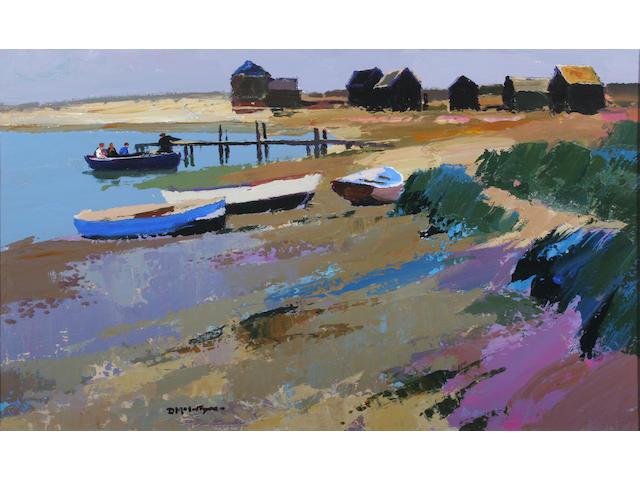 Donald McIntyre (British, 1923-2009) 'Ferry Walberswick' 52.5 x 77.5cm.