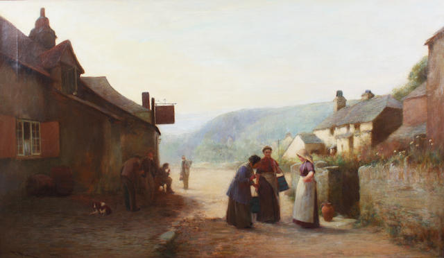 John White, R.I. (British, 1851-1933) Outside an inn 76 x 127cm.