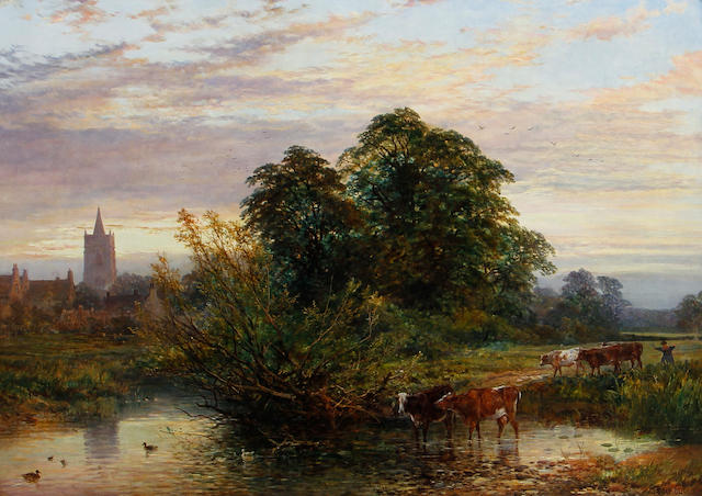 John Syer (British, 1815-1885) & Heywood Hardy (British, 1843-1933) Cattle in river