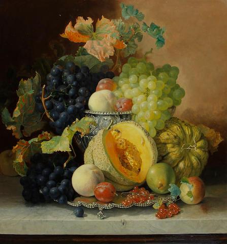 Eloise Harriet Stannard (British, circa 1828-1915) A platter of fruit on a marble ledge
