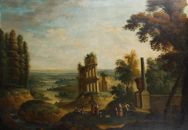 Follower of Jan Frans van  Bredael the Elder (Antwerp 1686-1750) Figures before an obelisk in an Italianate river landscape,