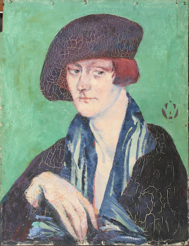 Alfred Aaron Wolmark (British, 1877-1961) Portrait of a lady in a beret 51.5 x 39.5cm.
