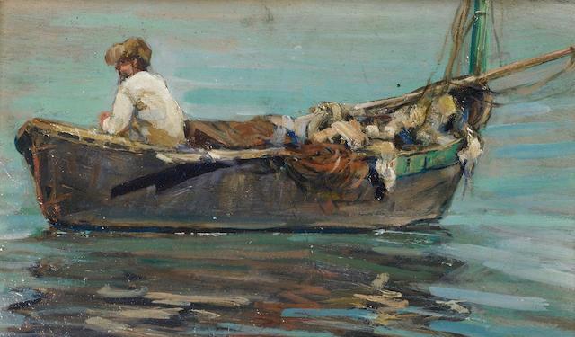 Alceste Campriani (Italian, 1848-1933) Barca; Barca con pescatore