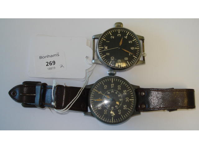 Two German Aviator's Watches of Large Size