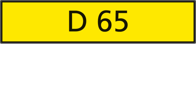 The registration number 'D 65',