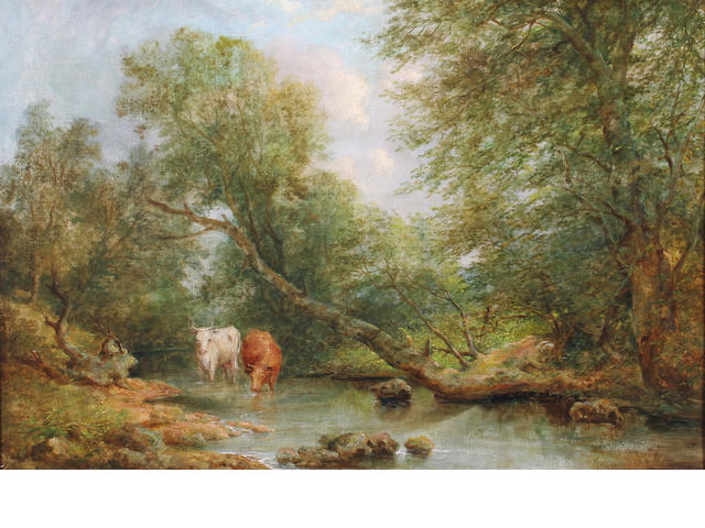 Joseph Haslam Hawksworth (1827-1908) Cattle watering in a pond 46 x 66.5cm.