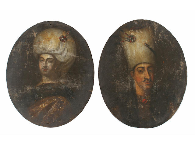 Manner of Jean-Baptiste Vanmour A Turkish nobleman; turkish noblewoman 29.5 x 24cm. A pair. (2)