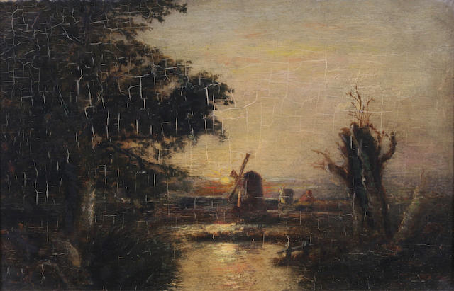 Follower of John Berney Crome (British, 1794-1842) Windmill at sunset 23 x 33.5cm.