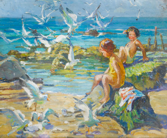 Dorothea Sharp (British, 1874-1955) Children playing on the rocks with gulls 38.5 x 46 cm. (15 1/4 x 18 in.)