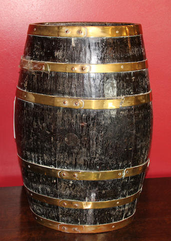 A 19th Century brass-bound oak barrel