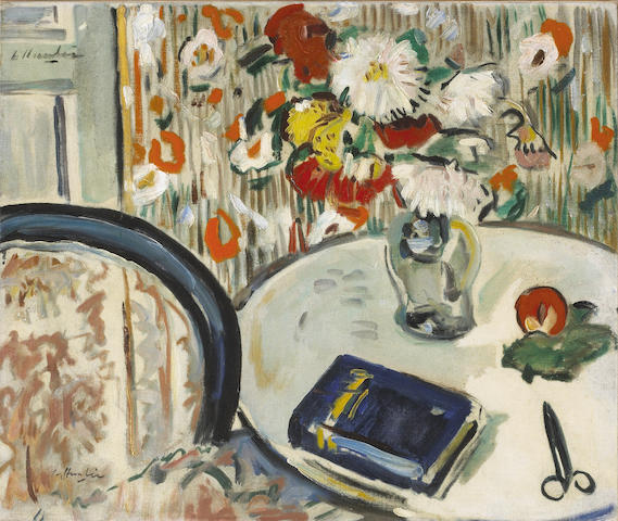 George Leslie Hunter (British, 1877-1931) Still Life with chair and vase of flowers 54.6 x 65.5 cm. (21 1/2 x 25 3/4 in.)
