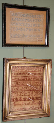 Two Victorian needlework samplers