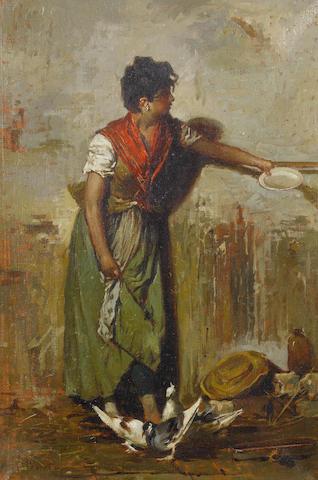 Giacomo Favretto (Italian, 1849-1887) Feeding the pigeons