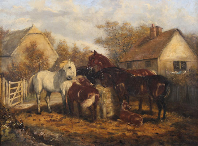 Follower of John Frederick Herring, Snr. (British, 1795-1865) Horses in a paddock 35.5 x 46cm.
