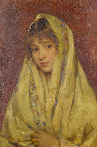 Eugene de Blaas (Austrian, 1843-1931) Girl in a yellow shawl