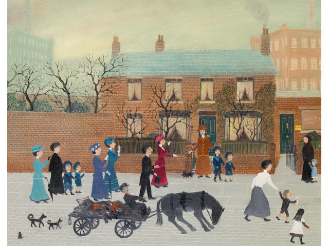 Helen Bradley (British, 1900-1979) The Afternoon Willie Murgatroyd Cut His Thumb 51 x 41 cm. (16 x 20 in.)