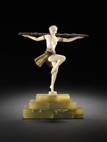 Pierre Le Faguays 'Danseuse au Thyrse' A Rare Cold-painted Bronze and Ivory Figure, circa 1925