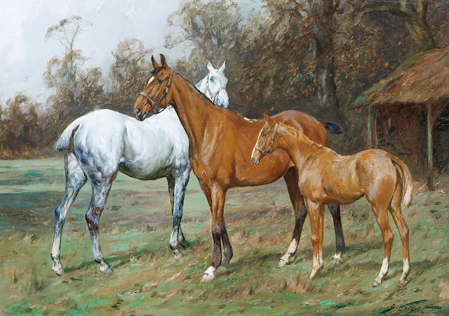 George Wright (British, 1860-1942) Horses in a field