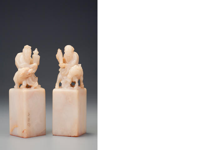 A pair of carved 'taiji tou' 'Shou Lao and Ma Gu' seals Mid Qing dynasty