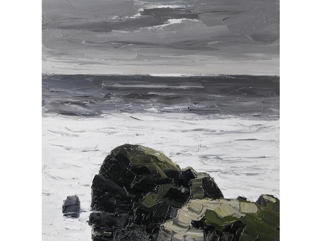 Sir Kyffin Williams R.A. (British, 1918-2006) Dark Rock - South Stack 76 x 76 cm. (30 x 30 in.)