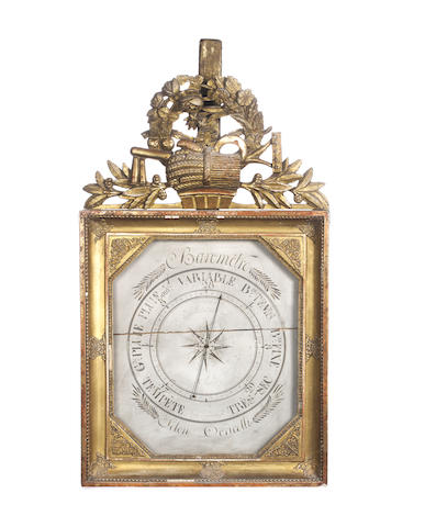An early 19th century French giltwood square dialled barometer Lerebours, Paris