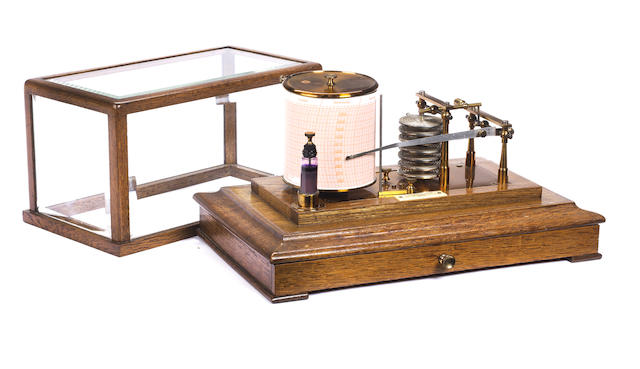 An Early 20th Century oak cased barograph, by H. Hughes and Son Ltd, number 761,