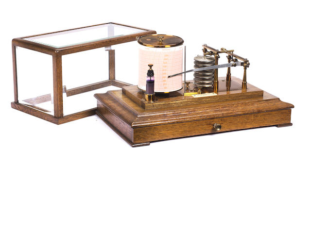 An Early 20th century oak cased barograph H. Hughes and Son Ltd, number 761