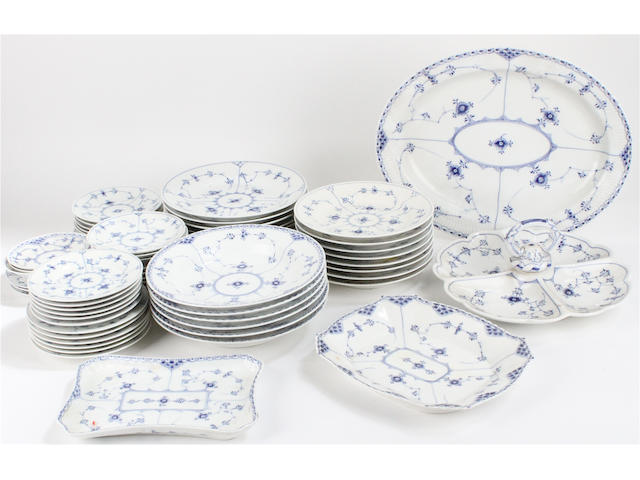 An extensive collection of Royal Copenhagen 'Blue Fluted Half Lace' dinner and tea wares