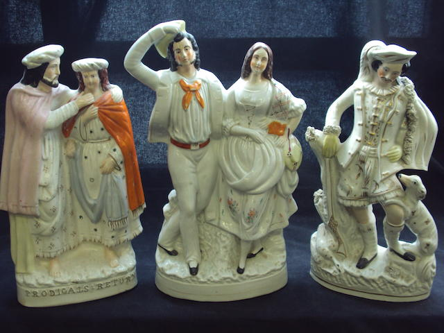 Three large Staffordshire flatback figure groups