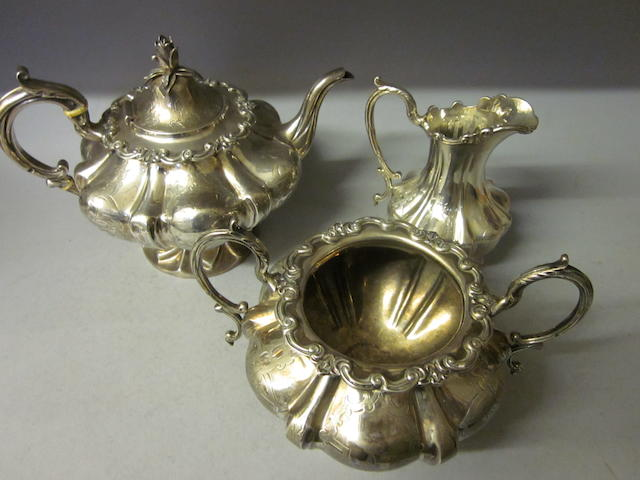 A Victorian three piece tea service, by Angel and Angel, London 1846,  (3)