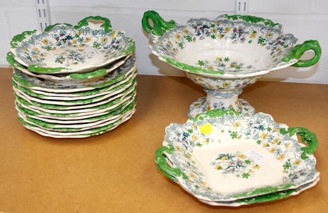 A Victorian Staffordshire pottery transfer printed part dessert service,