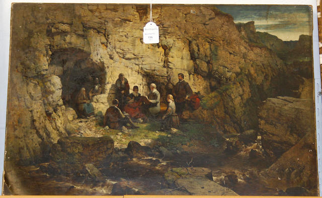 English School, 19th Century A secret prayer meeting beside a cave