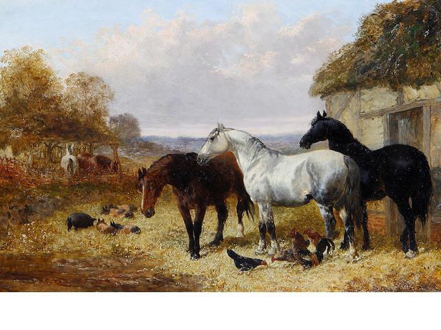 John Frederick Herring, Jnr. (British, 1815-1907) Horses in a farmyard