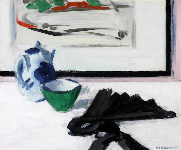 Francis Campbell Boileau Cadell, RSA RSW (British, 1883-1937) Still Life with Fan and Picture 37.5 x 46 cm. (14 3/4 x 18 in.)