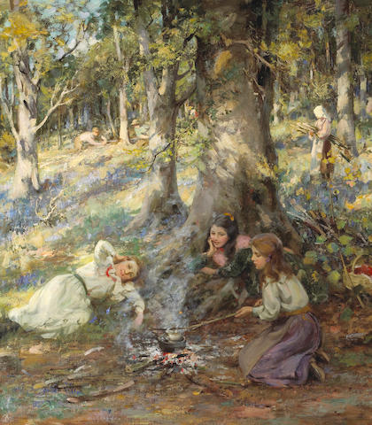 William Stewart MacGeorge, RSA (British, 1861-1931) Woodcutter's Children 104 x 91.5 cm. (41 x 36 in.)