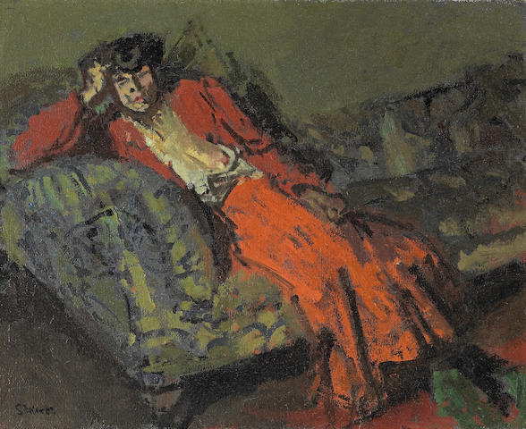 Walter Richard Sickert A.R.A. (British, 1860-1942) Woman in Red against Green. Mrs Neville 40.6 x 50.8 cm. (16 x 20 in.)