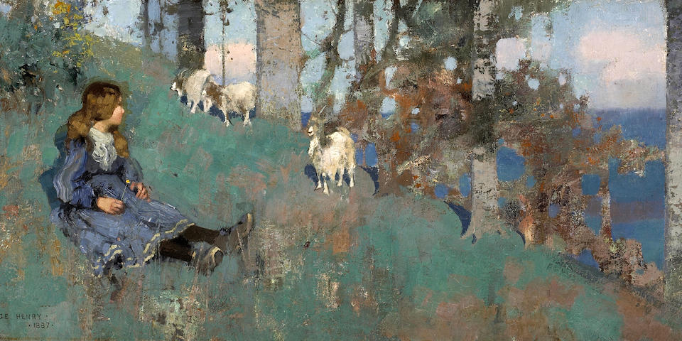 George Henry, RA RSA RSW (British, 1858-1943) The Goat Herd 33 x 76.5 cm. (13 x 30 in.)