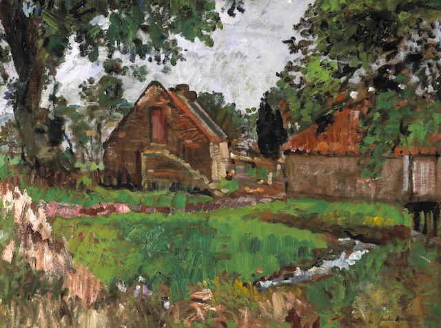 George Leslie Hunter (British, 1877-1931) Farm Buildings, Ceres, Fife 51 x 68.8 cm. (20 x 27 in.)