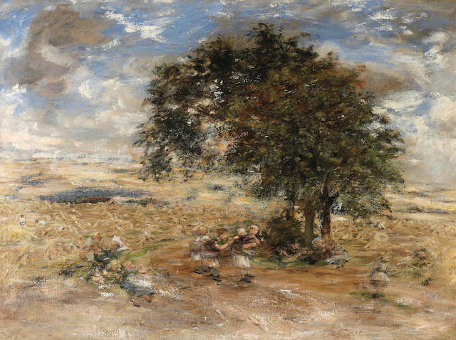 William McTaggart, RSA RSW (British, 1835-1910) Showery Harvest Day 106.5 x 141 cm. (42 x 55 1/2 in.)