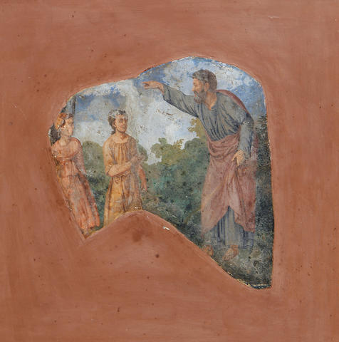 Roman School, 18th Century Figures in a landscape, a fragment