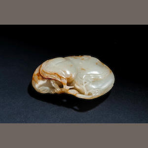 A white and russet jade peach Qianlong