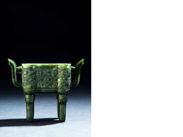 A spinach green jade incense burner, fangding Qianlong