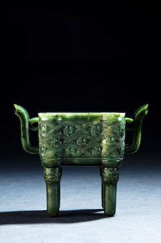 A spinach green jade incense burner, fangding Qianlong
