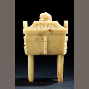 A large yellow jade incense burner, fangding Mid Qing dynasty