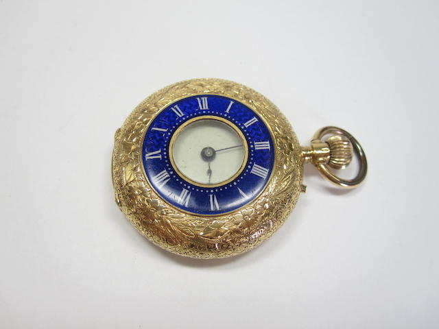 An enamelled half hunter fob watch, Continental