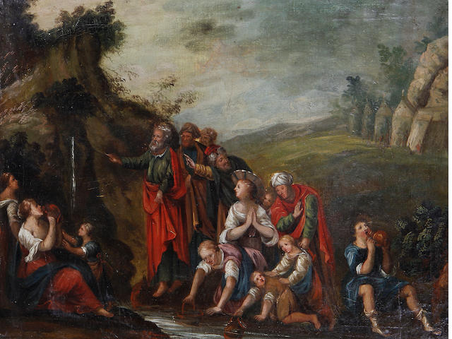 Flemish School, 17th Century Moses striking the rock